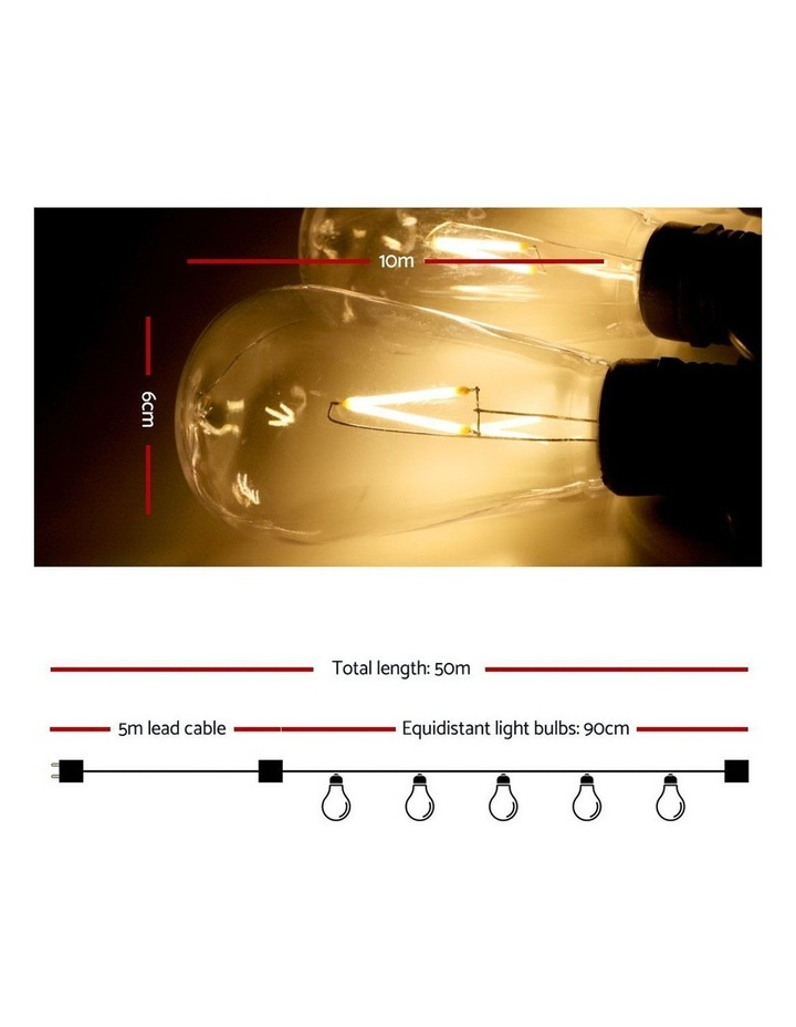 Jingle Jollys 50m LED Festoon String Lights Kits Wedding Party Christmas Outdoor Party image 2