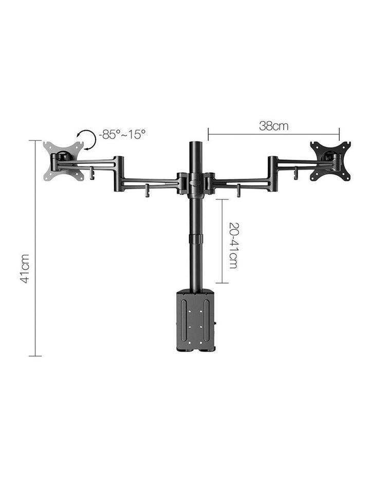 2 Arms Adjustable Monitor Screen Holder - Black image 2