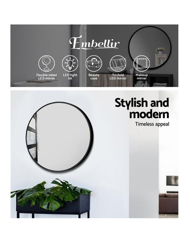 Embellir Round Wall Mirror 50cm Makeup Mirror Frameless Bathroom Vanity Black Decor image 4