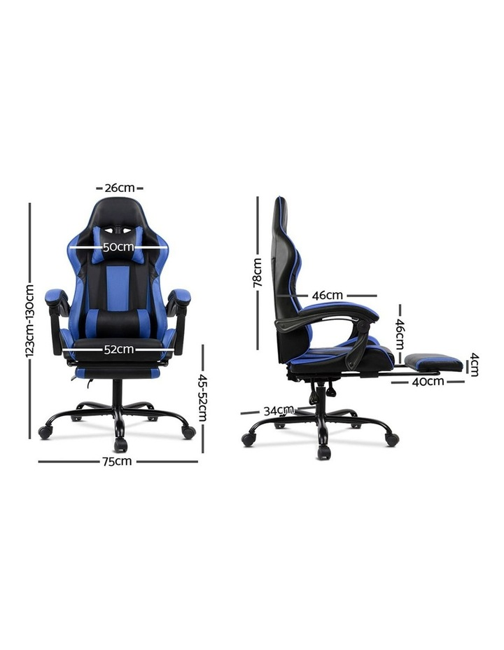 Artiss Gaming Office Chair Computer Chairs Seating Racing Racer Black Blue image 2