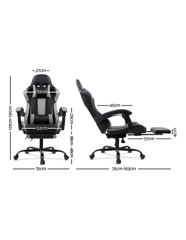 Artiss Gaming Office Chair Computer Chairs Leather Seating Racing Racer Black image 2