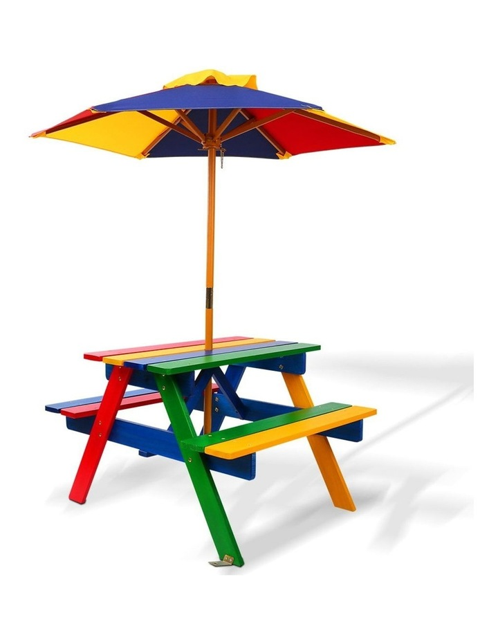 Keezi Kids Wooden Picnic Table Set with Umbrella image 1
