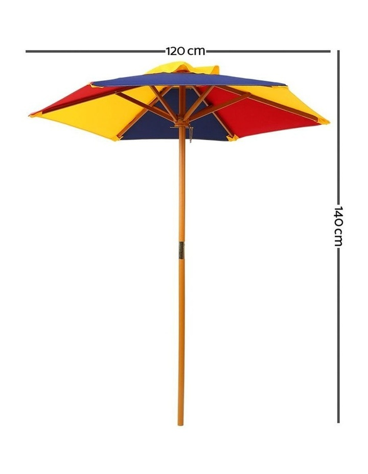 Keezi Kids Wooden Picnic Table Set with Umbrella image 3