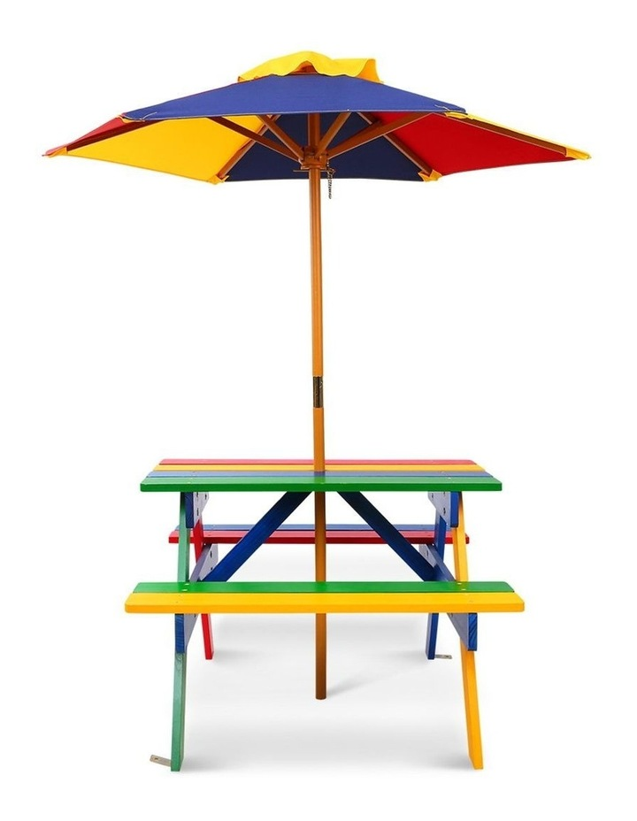 Keezi Kids Wooden Picnic Table Set with Umbrella image 4