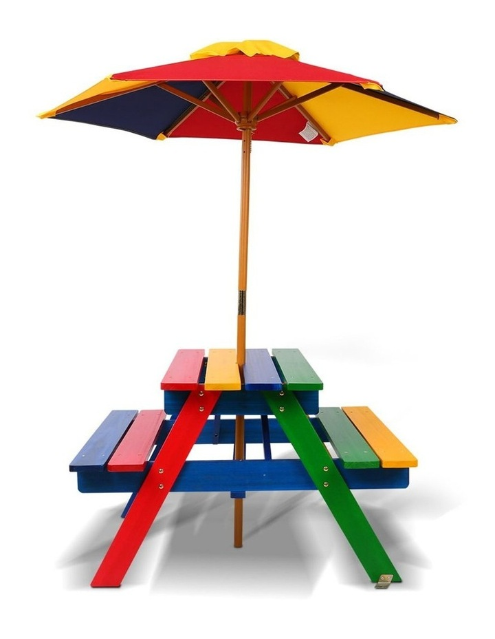 Keezi Kids Wooden Picnic Table Set with Umbrella image 5