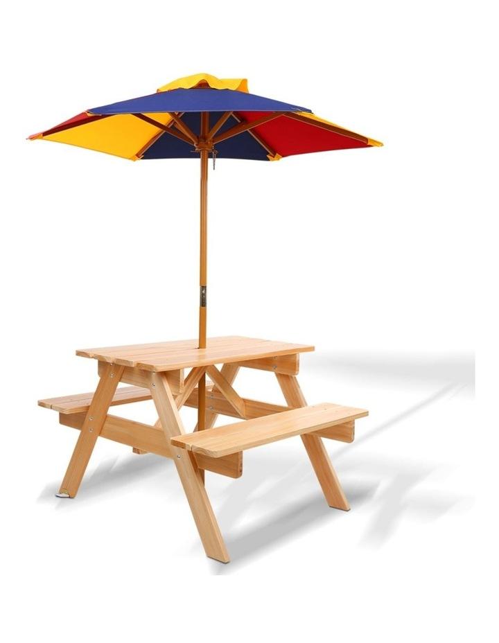 Keezi Kids Wooden Picnic Table Set with Umbrella image 1