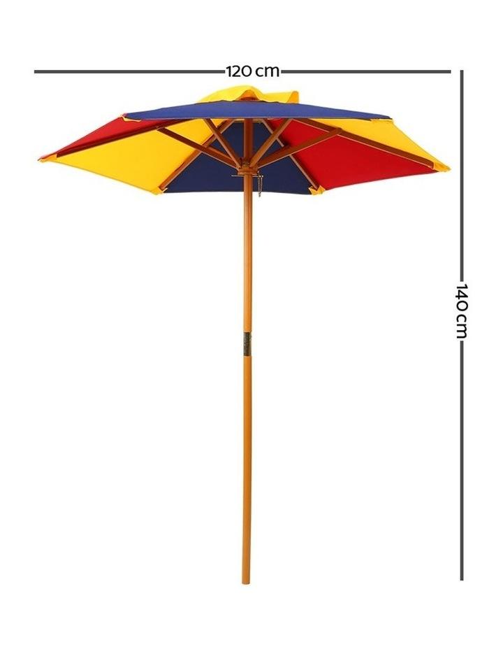 Keezi Kids Wooden Picnic Table Set with Umbrella image 3