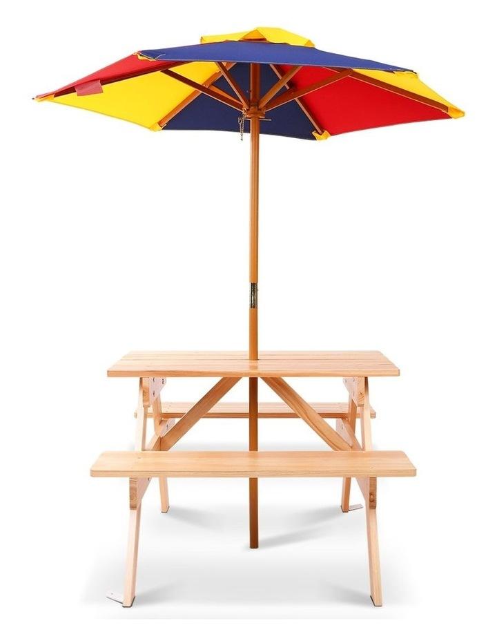 Keezi Kids Wooden Picnic Table Set with Umbrella image 4