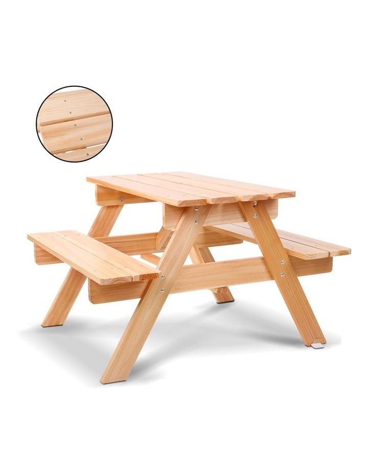 Keezi Kids Wooden Picnic Table Set with Umbrella image 6