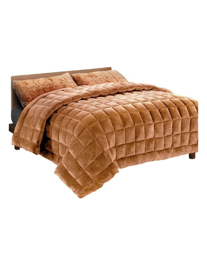 Faux Mink Quilt Plush Winter Weight Blanket Doona image 1