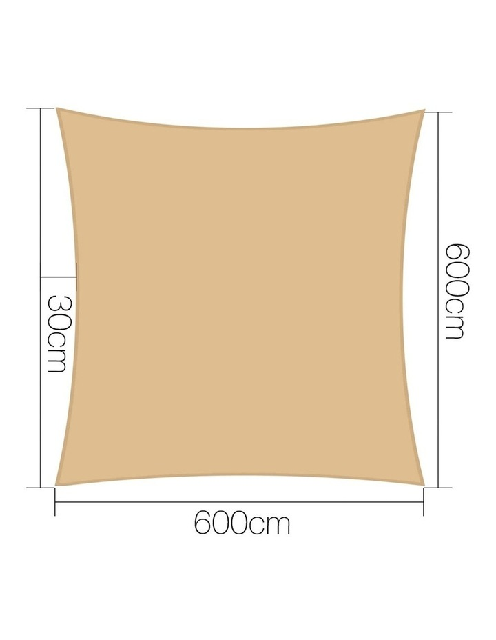 Shade Sail Cloth Shadecloth Square Heavy Duty Sand Sun Canopy 6x6m Summer image 2