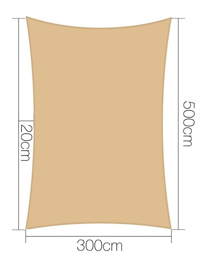 3 x 5m Waterproof Rectangle Shade Sail Cloth - Sand Beige image 2