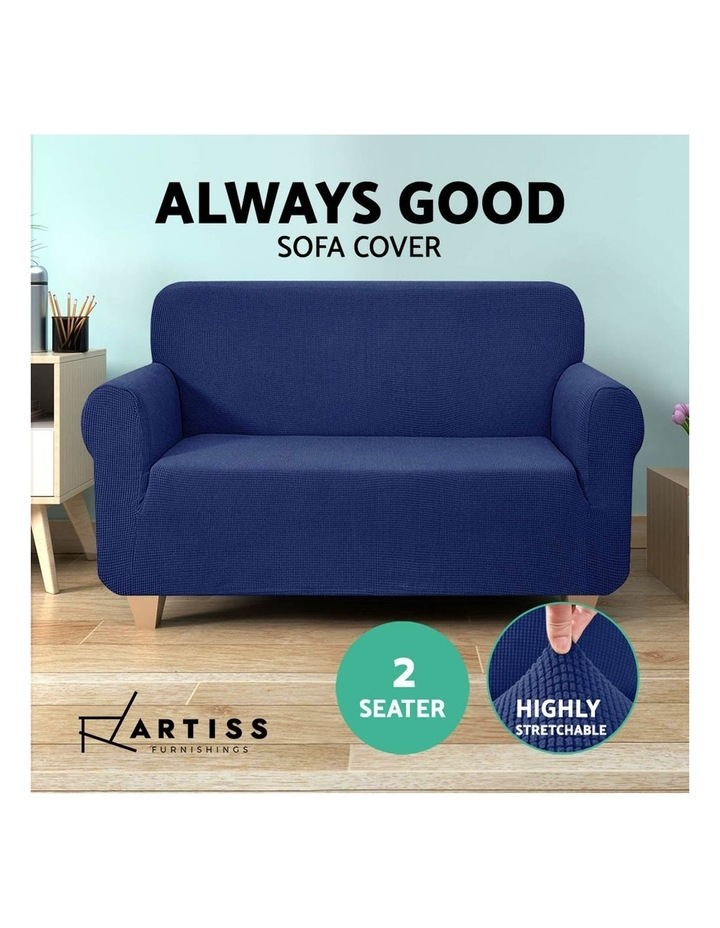 High Stretch Sofa Cover Couch Lounge Protector Slipcovers 2 Seater Navy image 5
