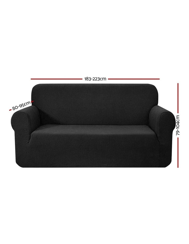High Stretch Sofa Cover Couch Lounge Protector Slipcovers 3 Seater Black image 2