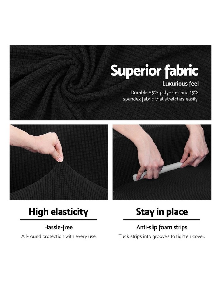 High Stretch Sofa Cover Couch Lounge Protector Slipcovers 3 Seater Black image 3