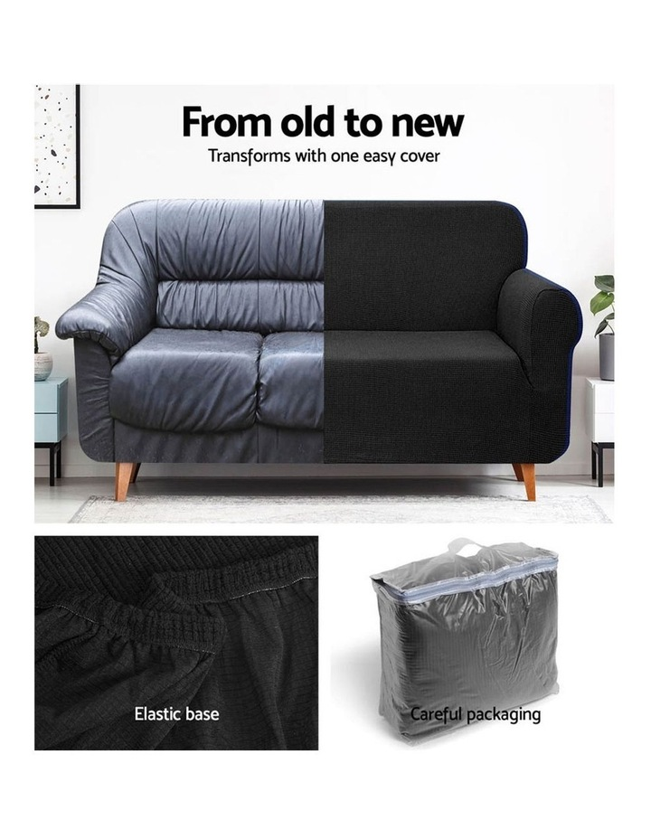 High Stretch Sofa Cover Couch Lounge Protector Slipcovers 3 Seater Black image 4