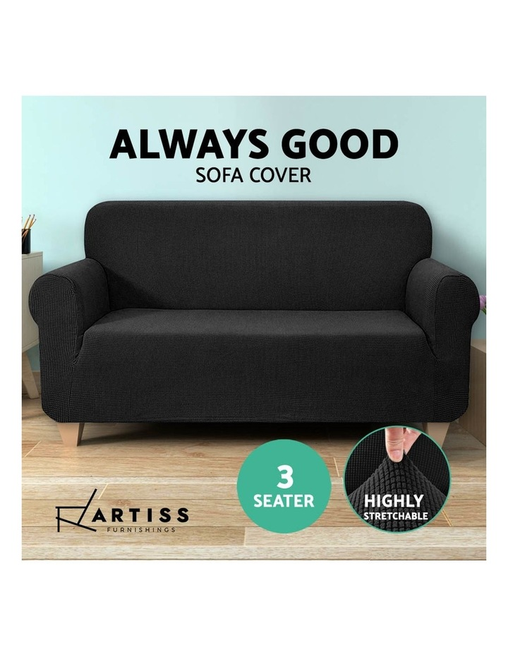 High Stretch Sofa Cover Couch Lounge Protector Slipcovers 3 Seater Black image 5