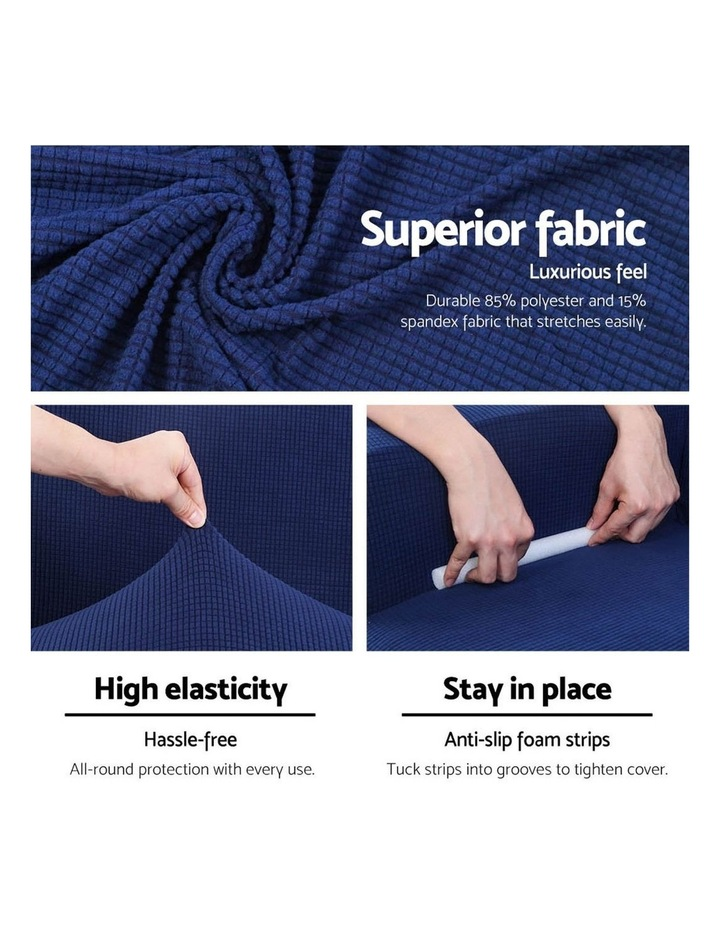 High Stretch Sofa Cover Couch Lounge Protector Slipcovers 3 Seater Navy image 3