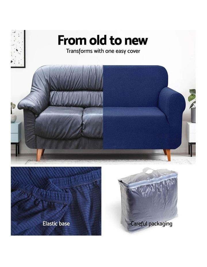 High Stretch Sofa Cover Couch Lounge Protector Slipcovers 3 Seater Navy image 4