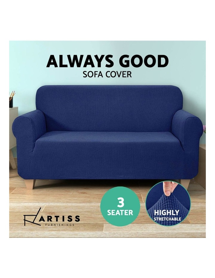 High Stretch Sofa Cover Couch Lounge Protector Slipcovers 3 Seater Navy image 5