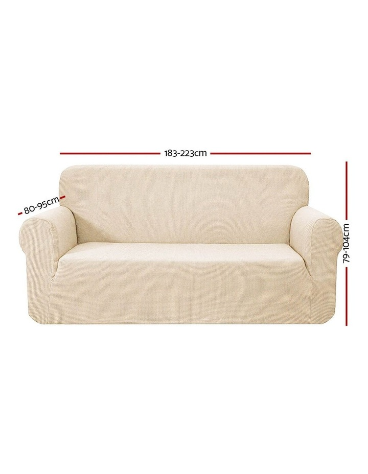 High Stretch Sofa Cover Couch Lounge Protector Slipcovers 3 Seater Sand image 2