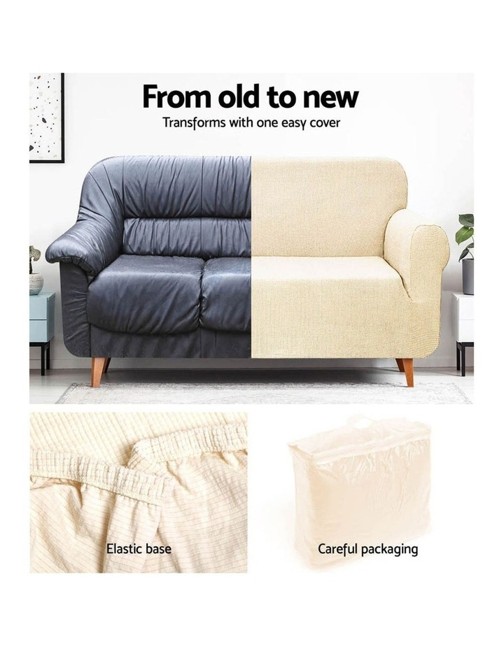 High Stretch Sofa Cover Couch Lounge Protector Slipcovers 3 Seater Sand image 4