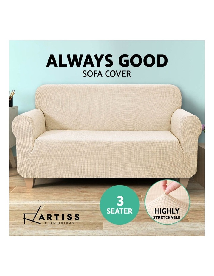 High Stretch Sofa Cover Couch Lounge Protector Slipcovers 3 Seater Sand image 5