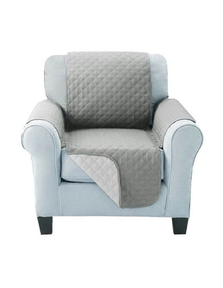 Sofa Cover Quilted Couch Covers Lounge Protector Slipcovers 1 Seater Grey image 3