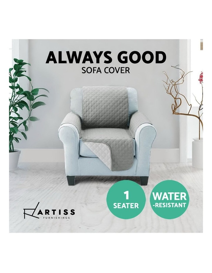Sofa Cover Quilted Couch Covers Lounge Protector Slipcovers 1 Seater Grey image 5