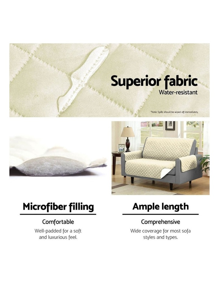 Sofa Cover Quilted Couch Covers Lounge Protector Slipcovers 1 Seater Khaki image 5