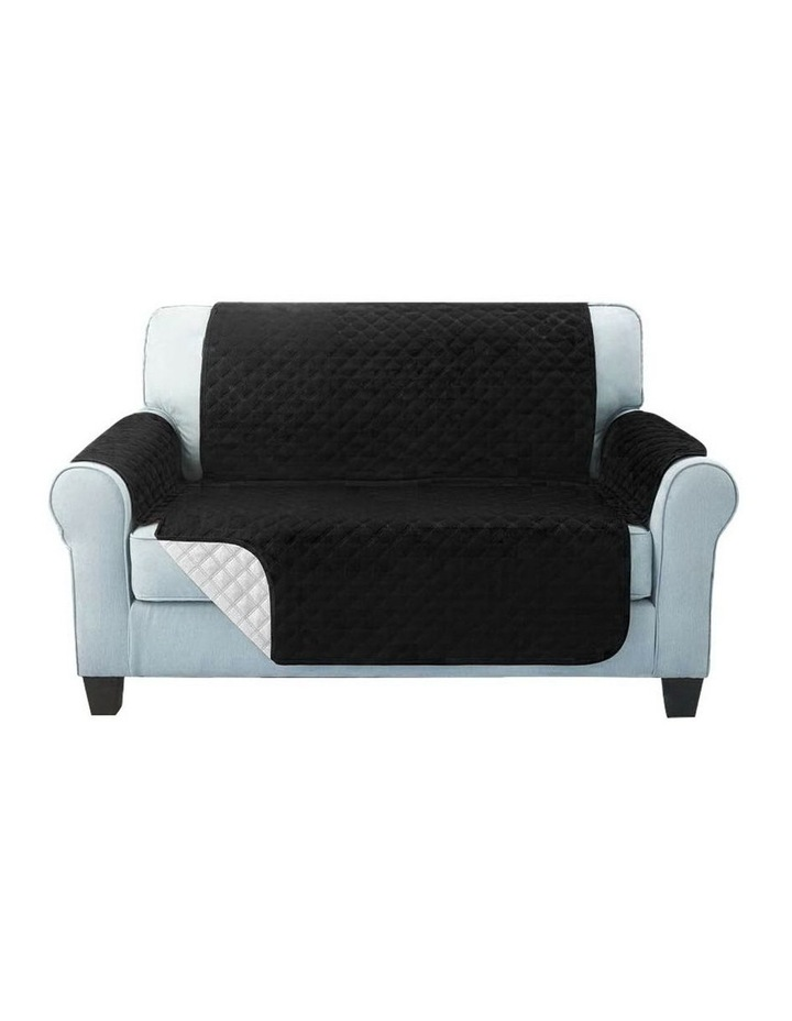 Sofa Cover Quilted Couch Covers Lounge Protector Slipcovers 2 Seater Black image 3
