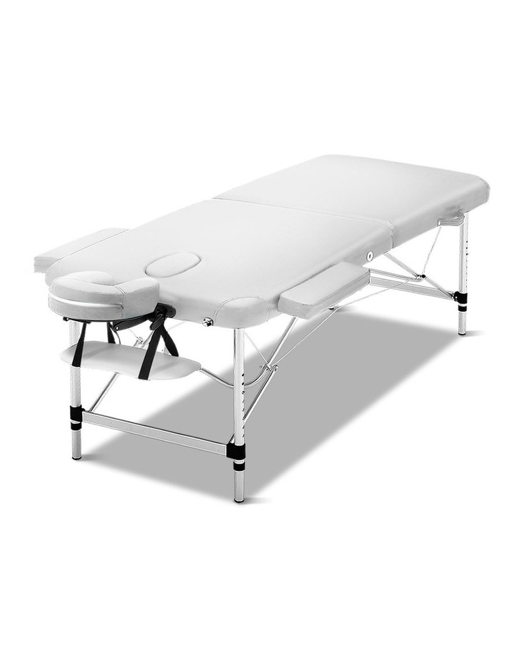 Zenses 75cm Portable Aluminium Massage Table Two Fold Treatment Beauty Therapy White image 1