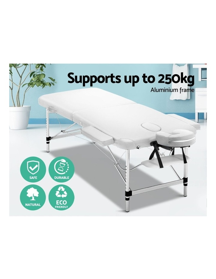Zenses 75cm Portable Aluminium Massage Table Two Fold Treatment Beauty Therapy White image 4