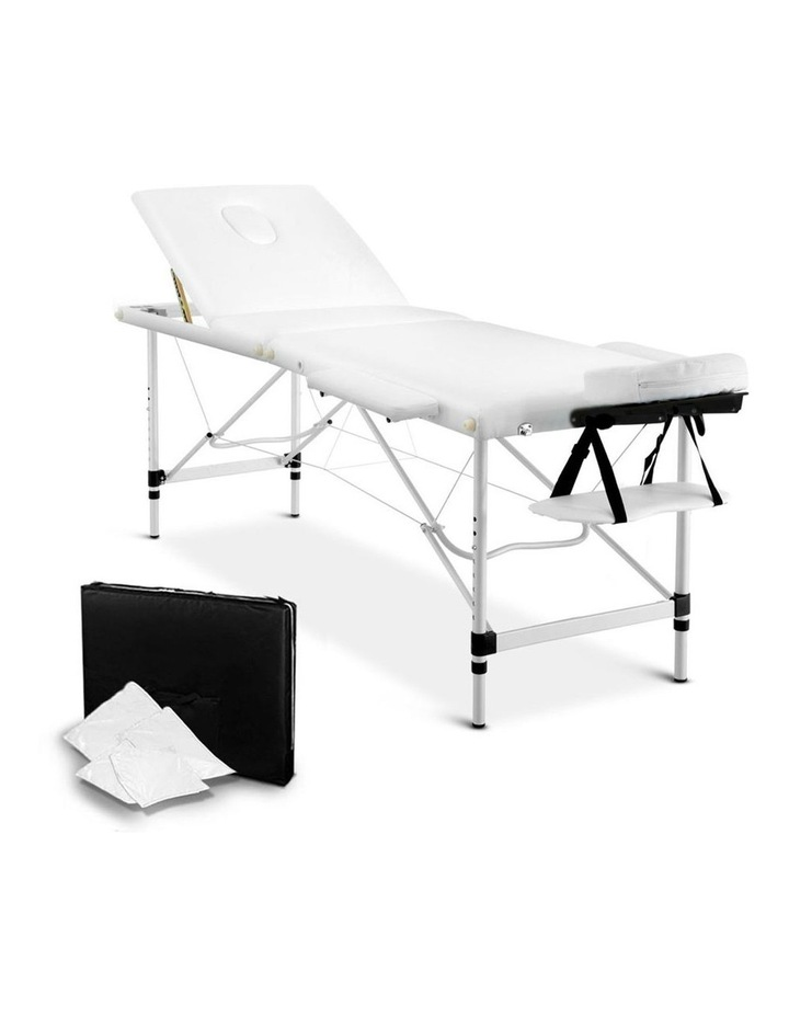 3 Fold Portable Aluminium Massage Table - White image 1