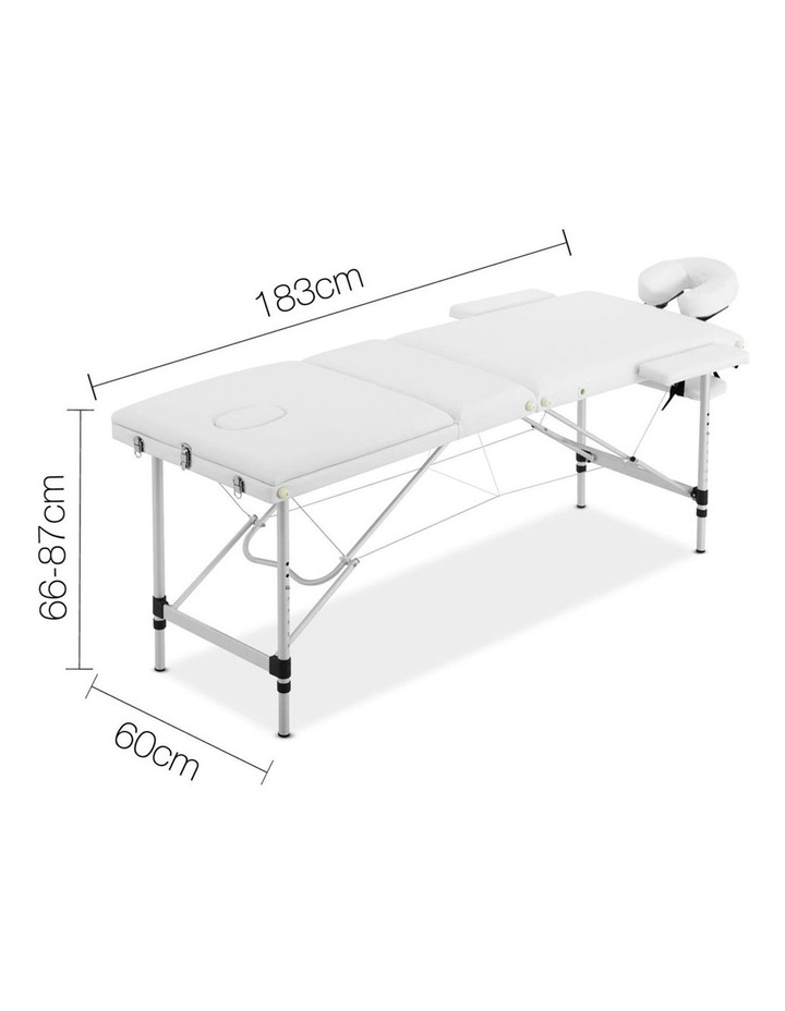 3 Fold Portable Aluminium Massage Table - White image 2