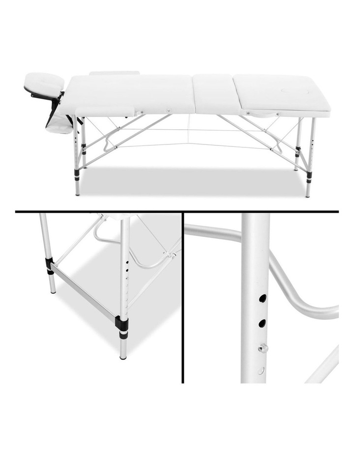 3 Fold Portable Aluminium Massage Table - White image 4