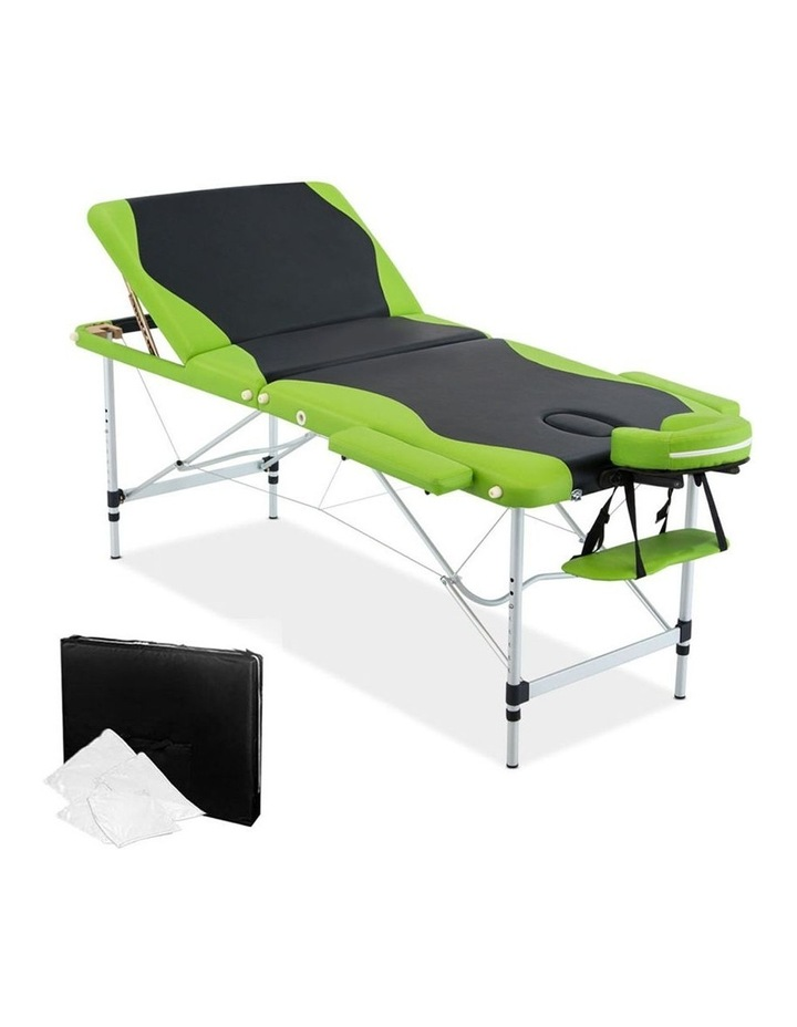 3 Fold Portable Aluminium Massage Table - Green & Black image 1