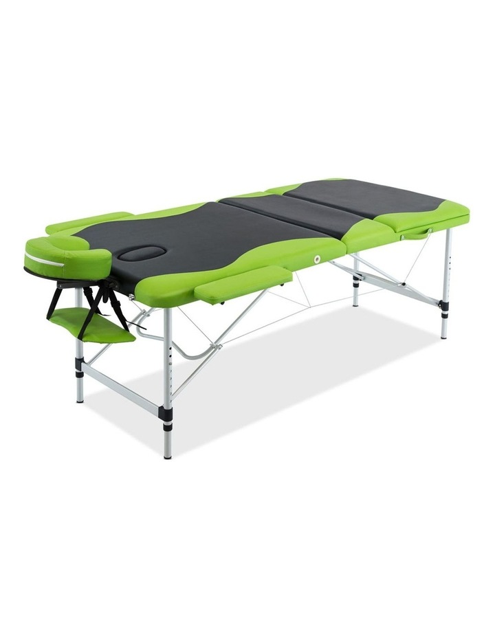 3 Fold Portable Aluminium Massage Table - Green & Black image 3