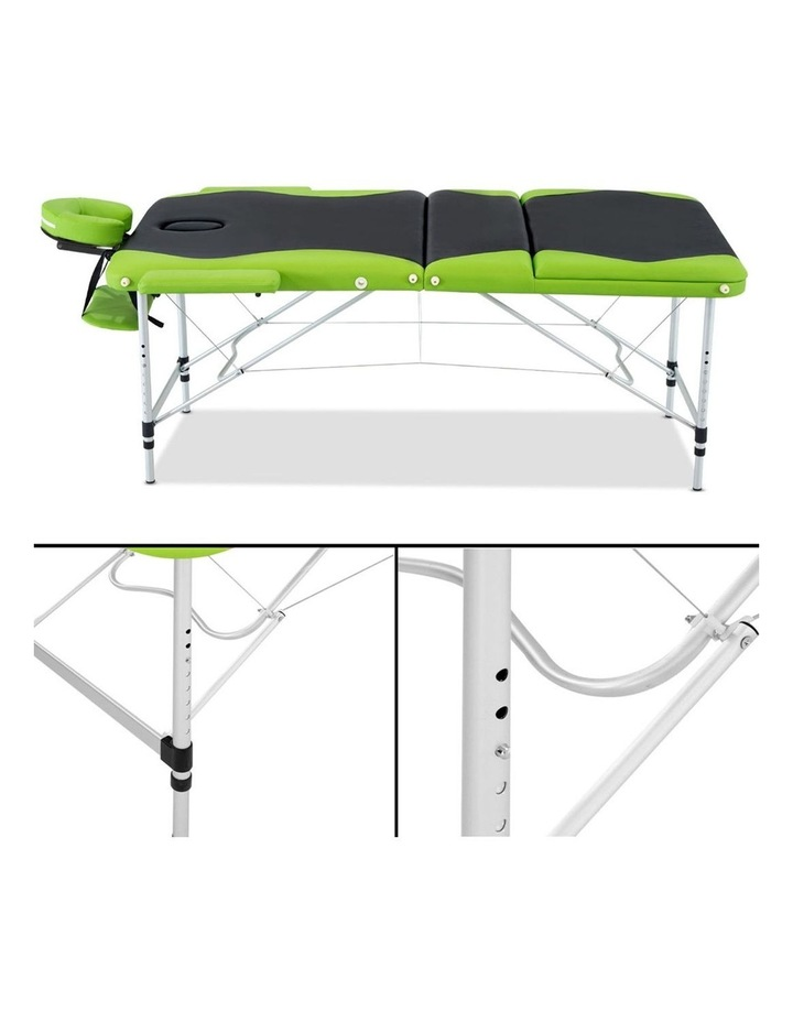 3 Fold Portable Aluminium Massage Table - Green & Black image 4