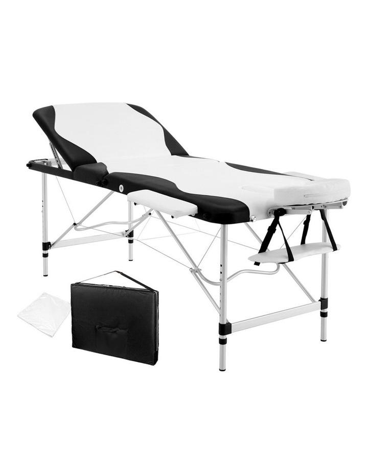 3 Fold Portable Aluminium Massage Table - Black & White image 1