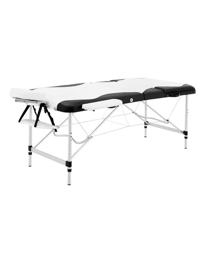3 Fold Portable Aluminium Massage Table - Black & White image 3