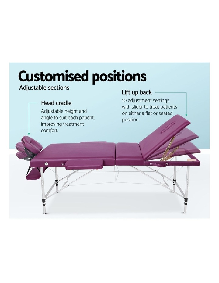 Zenses 3 Fold Portable Aluminium Massage Table Massage Bed Beauty Therapy Purple 75cm image 5
