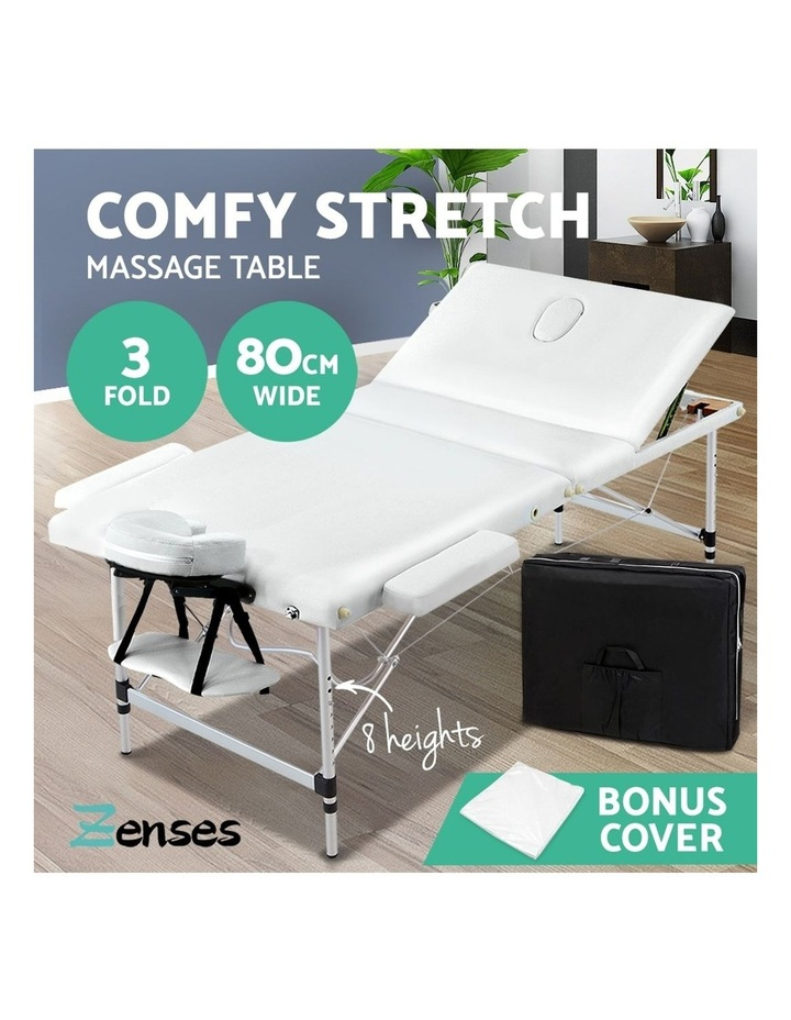 Zenses 80CM Portable 3 Fold Aluminium Massage Table Therapy Beauty Waxing Bed image 4