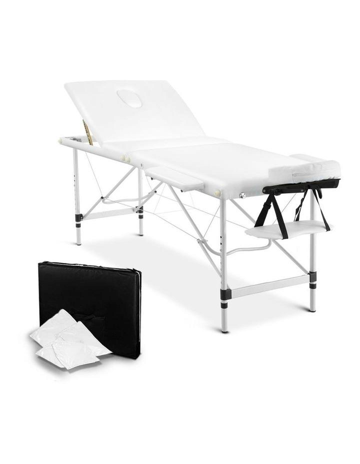 3 Fold Portable Aluminium Massage Table - White image 1