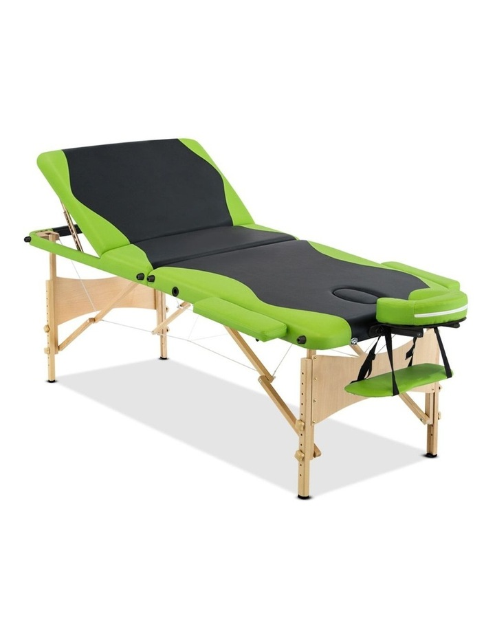 3 Fold Portable Wood Massage Table - Black & Lime image 1