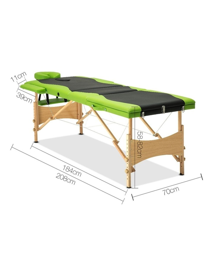 3 Fold Portable Wood Massage Table - Black & Lime image 2