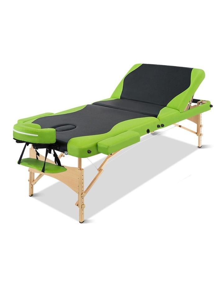 3 Fold Portable Wood Massage Table - Black & Lime image 3