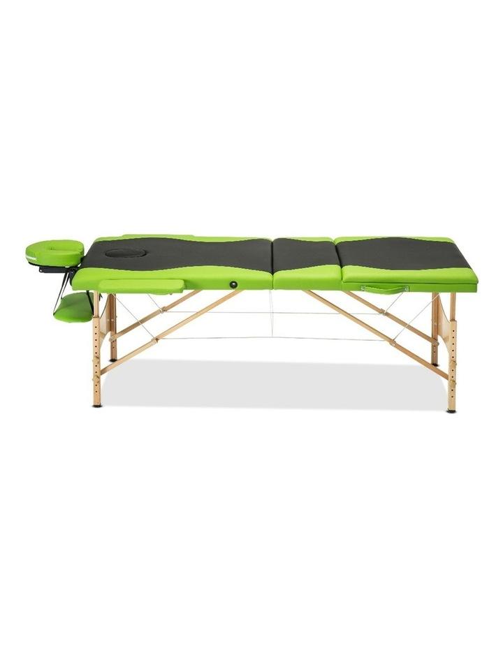 3 Fold Portable Wood Massage Table - Black & Lime image 4