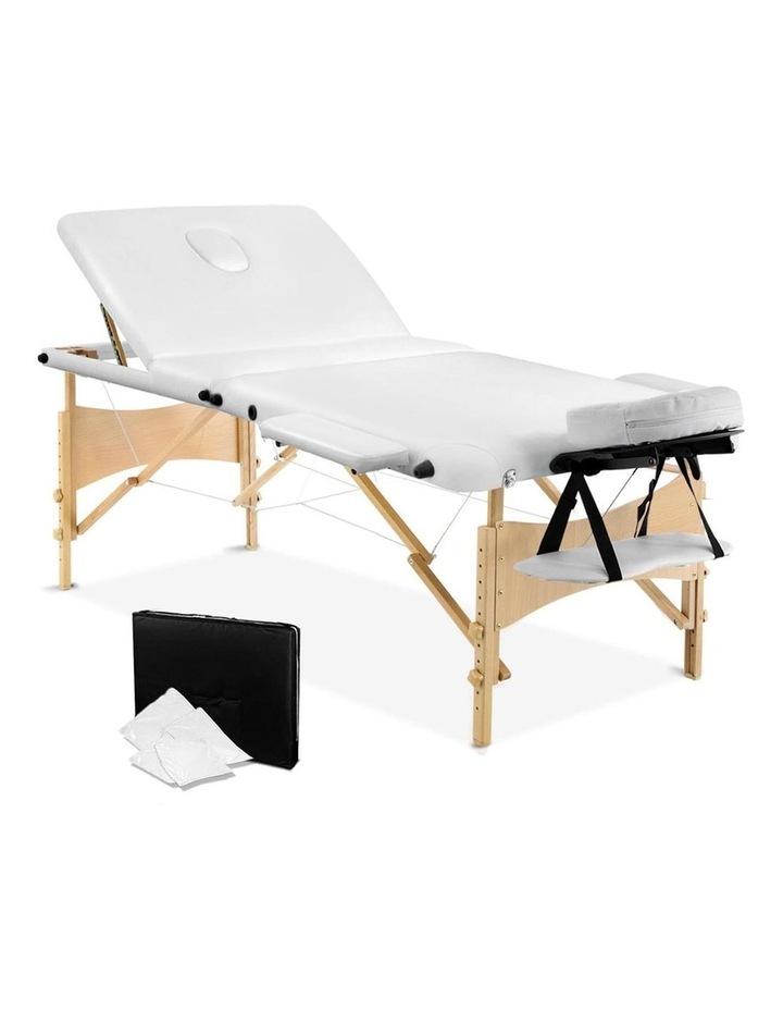 3 Fold Portable Wood Massage Table - White image 1