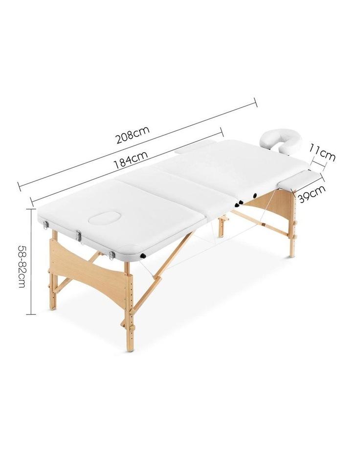 3 Fold Portable Wood Massage Table - White image 2